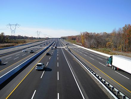 Completed 12-lane roadway from same point as above in November 2014 New Jersey Turnpike widening Robbinsville Nov 2014.jpg