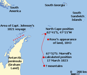 Chart shows the positions of the supposed New South Greenland coast, and Ross's Appearance, in relation to the Antarctic peninsula, the South American mainland, the South Sandwich Islands and South Georgia.