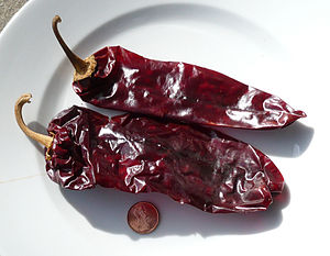 Dried red New Mexico chile peppers. Photo take...