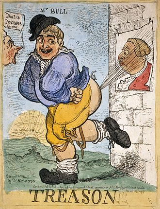 Lèse-majesté - John Bull farts on an image of George III, 1798