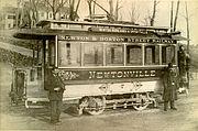 Early trolley car in Newton, Massachusetts.