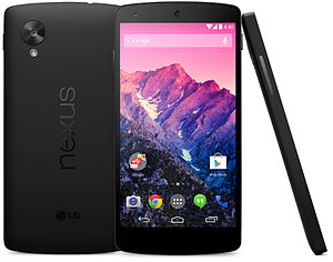 Nexus 5 - Back, front and side view of a black Nexus 5