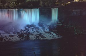 Bridal Veil Falls (Niagara Falls) - American Falls (left) and Bridal Veil Falls at night
