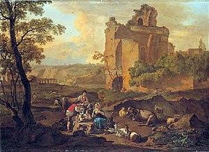 Nicolas Henri Joseph de Fassin - Image: Nicolas de Fassin, Italianate landscape with peasants resting near a ruin