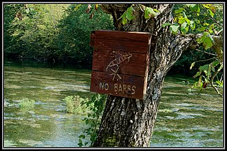 "Catch and release - ""No Barbs"" sign on Ribnik river in Bosnia"