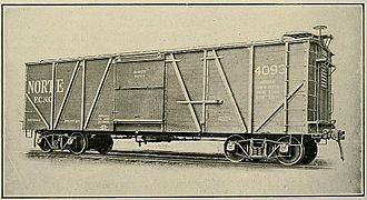 American Car and Foundry Company - External-braced wooden boxcar built for sugar service in Cuba by ACF. ca. 1922