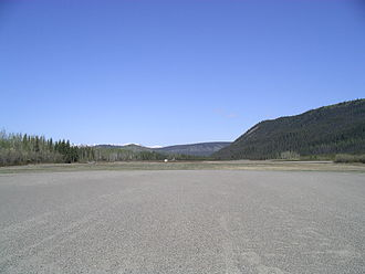 Dawson City Airport - Note the large hills nearby