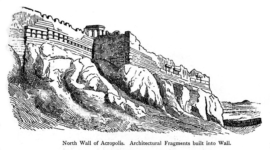 North wall of the Acropolis with built-in fragments