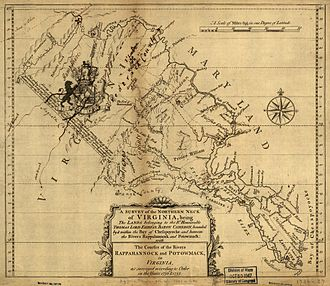 Northern Virginia - Map of the Northern Neck Proprietary land grant c. 1737