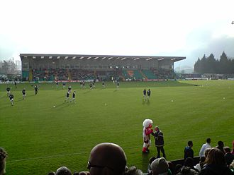 Northwich Victoria F.C. - Northwich players warming up for the Second Round FA Cup game against Lincoln City at the Victoria Stadium.