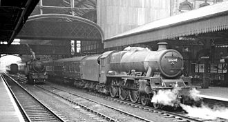 Nottingham Victoria railway station - LMS 'Jubilee' 6P 4-6-0 No. 45638 'Zanzibar' in 1962