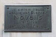 Gedenktafel an seinem Wohnhaus in Freiberg (Quelle: Wikimedia)