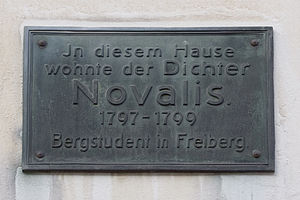 Novalis - Novalis house plaque, Freiberg.