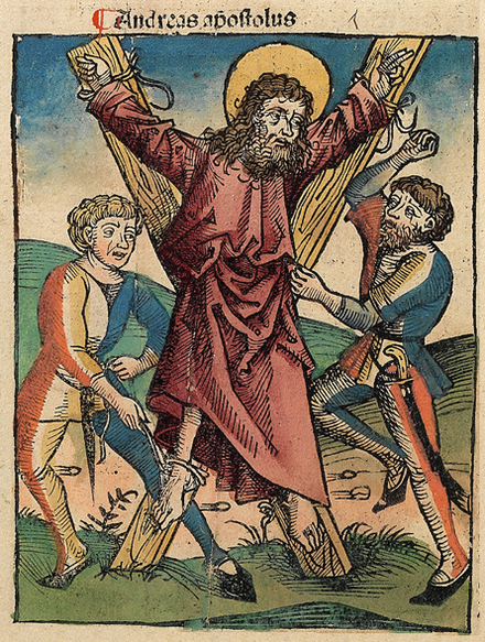 Martyrdom of Saint Andrew in the Nuremberg Chronicle Nuremberg chronicles f 106v 1.png