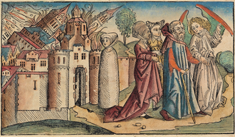 Sodom and Gomorrah - Sodom and Gomorrah from the Nuremberg Chronicle by Hartmann Schedel, 1493. Lot's wife, already transformed into a salt pillar, is in the center.
