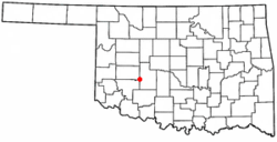 Location of Carnegie, Oklahoma