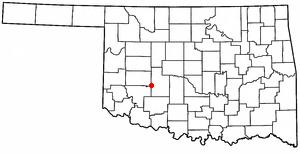 Carnegie, Oklahoma - Image: OK Map doton Carnegie