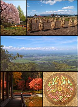 From top left; Spring in Mizusawa Park, the Autumn rice harvest in Isawa, Maesawa and the Kitakami River in Summer from Mt. Otowa, Autumn foliage at Fujiwara no Sato in Esashi and a manhole cover in Koromogawa