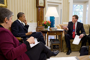 John S. Pistole - Pistole and Homeland Security Secretary Janet Napolitano meet with President Obama in the Oval Office.