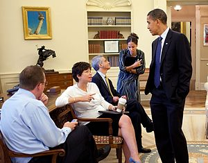 Valerie Jarrett - Obama speaks to Jarrett and other staff, August 2009.