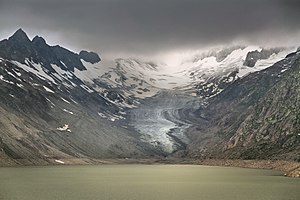 Oberaargletscher - Upper Aargletscher as seen from the bank of the reserve lake Oberaarsee in 2010 July