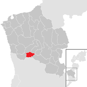 Location of the municipality of Oberdorf in Burgenland in the Oberwart district (clickable map)