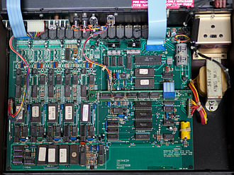 Oberheim DMX - Oberheim DX processor board, showing the EPROM chips containing samples