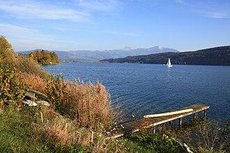 Bollingen - Obersee (upper Lake Zürich) at Bollingen, Benken in the background
