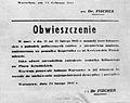 Obwieszczenie Ludwiga Fischera z 24 lutego 1942 o demontażu pomnika Jana Kilińskiego.jpg
