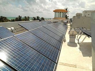 Solar power in Florida - Medium installation on South Beach roof in 2012.