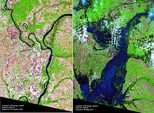 Birds Point-New Madrid Floodway - Landsat 5 image of floodway activation, May 2011.