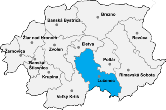Ábelová - Location of Lucanec District in the Banská Bystrica Region