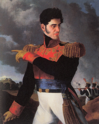 General Antonio Lopez de Santa Anna was a military hero who became president of Mexico on multiple occasions. The Mexican Army's intervention in politics was an ongoing issue during much of the mid-nineteenth century. Oleo Antonio Lopez de Santa Anna.PNG