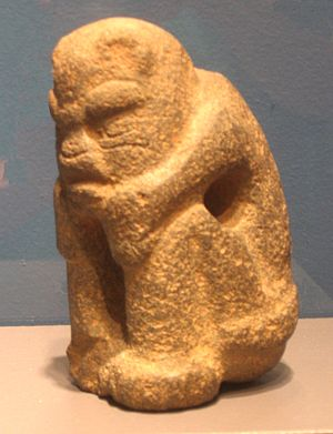 Jaguars in Mesoamerican cultures - An Olmec transformation figure, thought to show the transformation of a shaman into a jaguar.