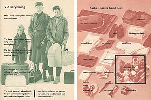 Swedish Civil Defence Board - Two pages out of the 1961 edition of If the war comes published by the Swedish Civil Defence Board.