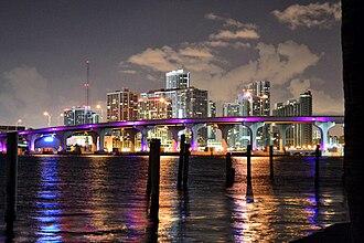 Omni (Miami) - Omni viewed at night in May 2011 from Watson Island