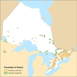 Distribution of Ontario's township municipalities by lower-tier and single-tier municipality status