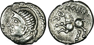 Orgetorix - An example of the Orgetorix coins minted among the Helvetii during the time of Orgetorix's magistracy, when he was preparing the state for migration but his conspiracy was yet undiscovered. Orgetorix is spelled ORCHTIRIX, with the C for G and the H for E.