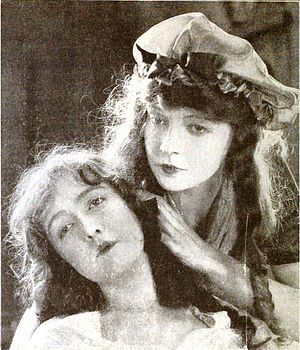 Close-up - Dorothy and Lillian Gish in a closeup from Orphans of the Storm (1921), directed by D. W. Griffith