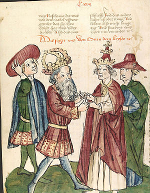 Otto I meets Pope John XII Otto I begegnet Papst Johannes XII.jpg