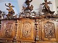 Our Lady and St. John of Nepomuk R.C. church. Interior ID 3829. Sacristy. Carved wood bench. - 2, János Lane Downtown, Székesfehérvár, Fejér County, Hungary.JPG