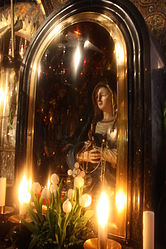 Our Lady of Sorrows statue in Golgotha, Holy Sepulchre.jpg