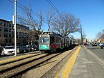 Outbound train at Tappan Street, April 2016.JPG