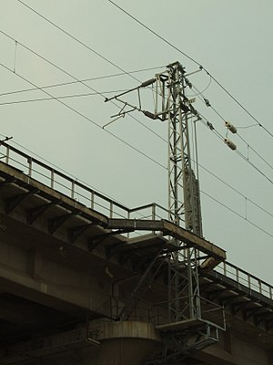 Overhead lines on the railway