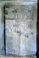 dalle funéraire de Renée Sarazin, abbesse de Ronceray morte en 1499 à Angers