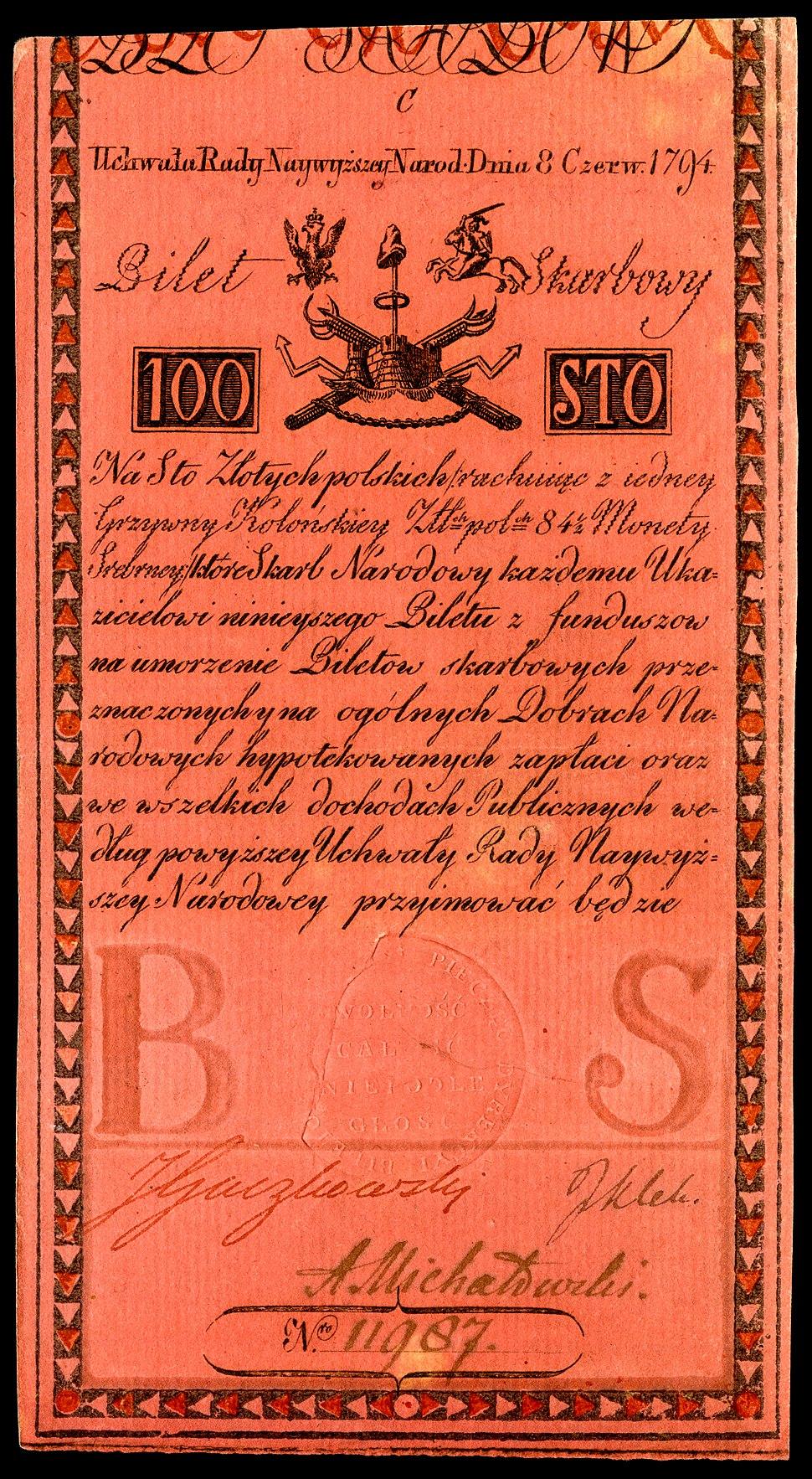 POL-A5-Bilet Skarbowy-100 Zlotych (1794 First Issue)
