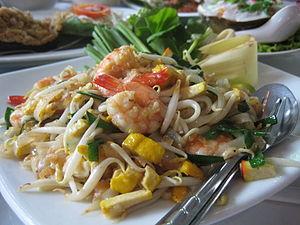 Pad thai (ผัดไทย), served in Bangkok.
