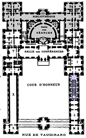 Palais du Luxembourg plan 1904 - Hustin 1904 p86 - Google Books (cropped, marked).jpg