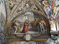 Palazzo capponi-vettori, salone poccetti, 01 lunetta con piero di gino capponi da carlo VIII di francia.JPG