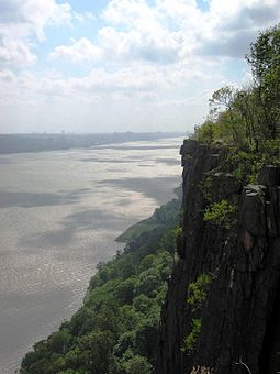 Part of the Palisades Interstate Park, the cliffs of the New Jersey Palisades in Bergen (seen here) and Hudson counties overlook the Hudson River. Palisades cliff.jpg